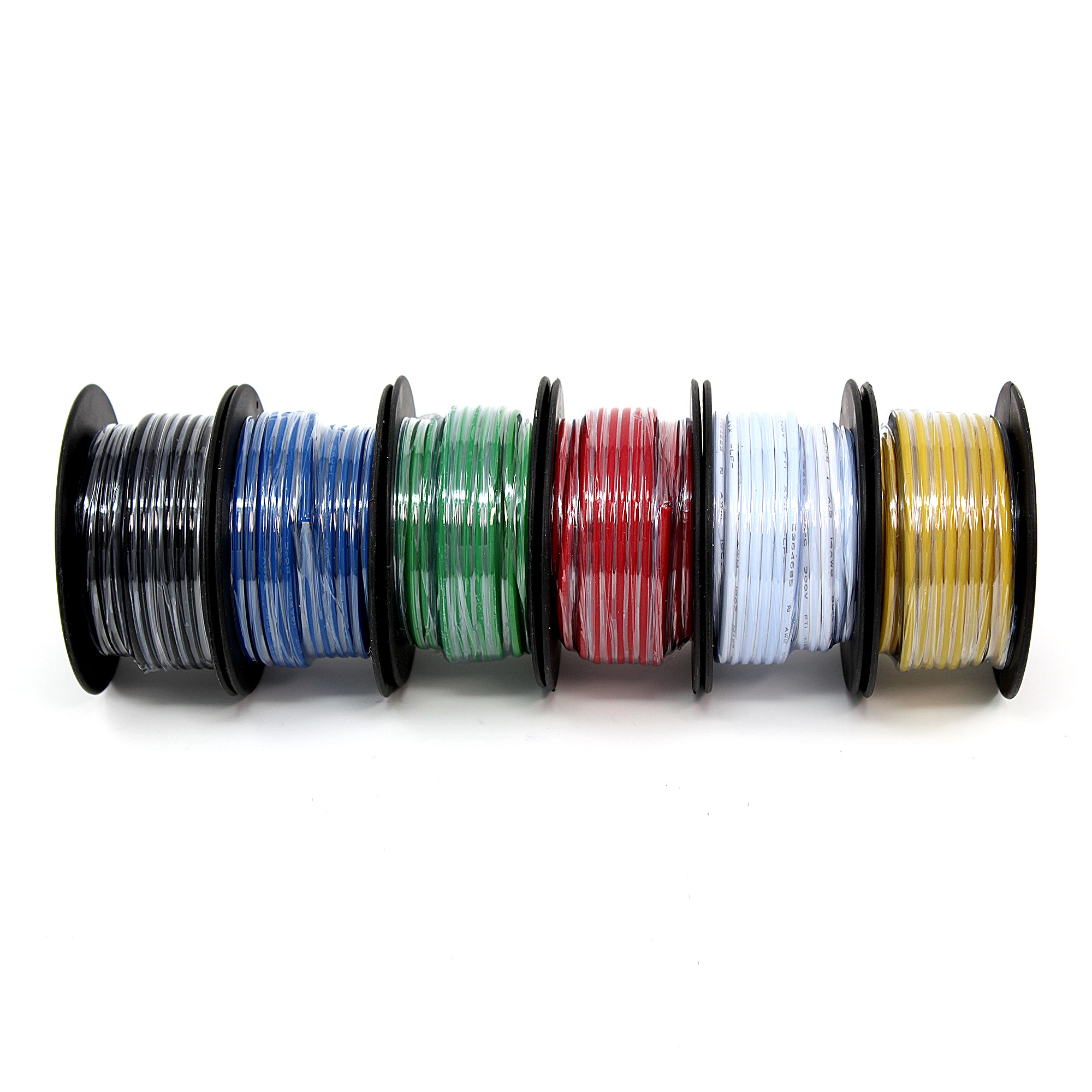 14AWG Solid copper wire multi-pack, six 25\' spools, six colors ...