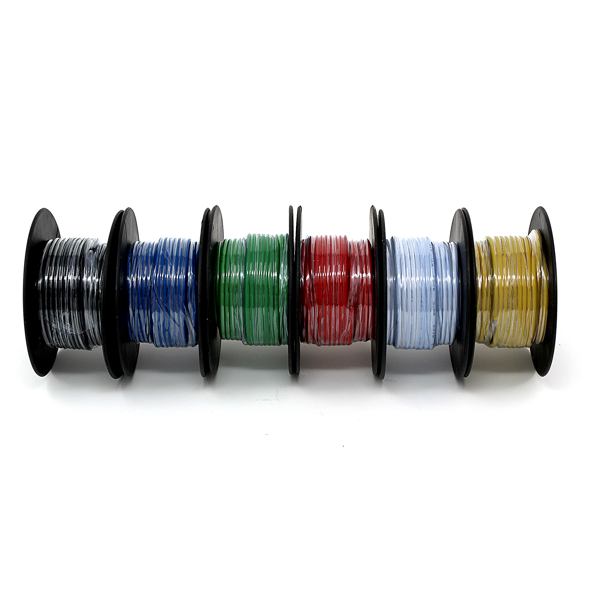 18AWG Solid copper wire multi-pack, six 25\' spools, six colors ...