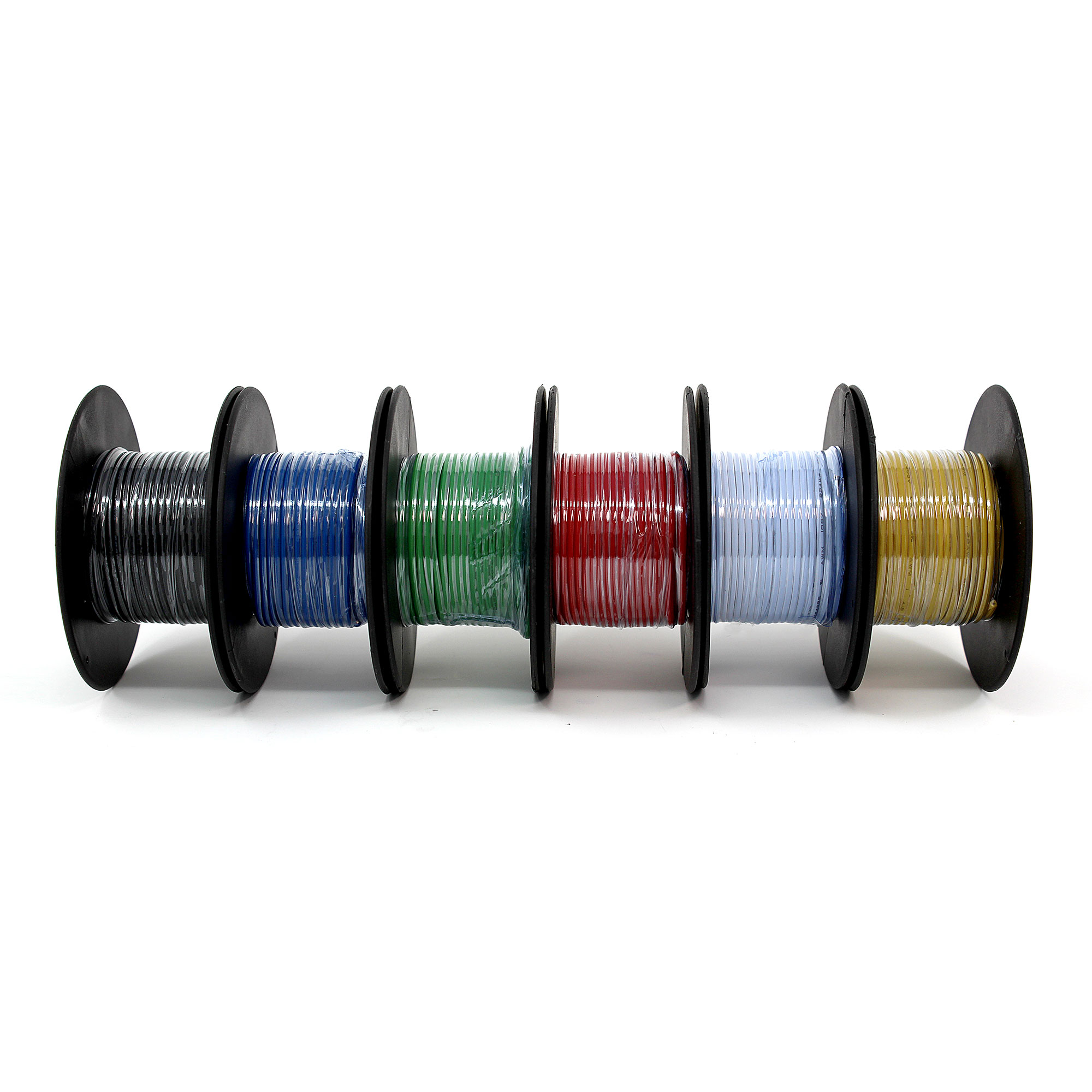 22AWG Solid copper wire multi-pack, six 25\' spools, six colors ...